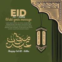 eid al-adha Grußkarten mit handgezeichneter Laterne im grünen Hintergrund. vektor