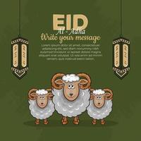 eid al-adha Grußkarten mit handgezeichneten Schafen und Laternen im grünen Hintergrund. vektor