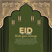 eid al-adha gratulationskort med handritad lykta i grön bakgrund. vektor