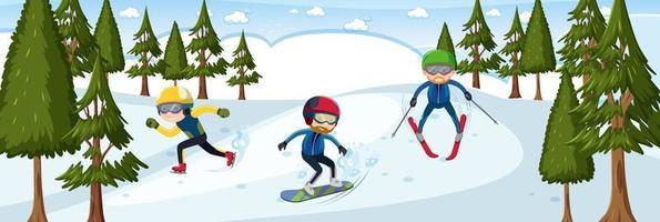 viele Skifahrer in der horizontalen Landschaftsszene des Schneewaldes vektor