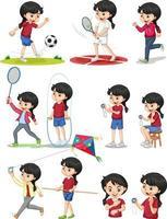 Satz Mädchen, das verschiedene Arten von Sport macht vektor