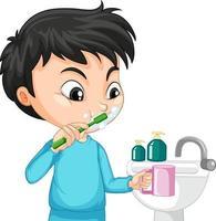 Zeichentrickfigur von Aboy, die Zähne mit Wasserspüle putzt vektor