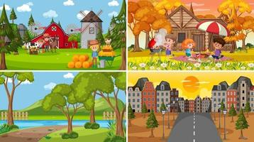 uppsättning olika natur scener tecknad stil vektor