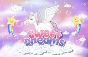Pegasus mit süßer Traumschrift auf Pastellhintergrund vektor