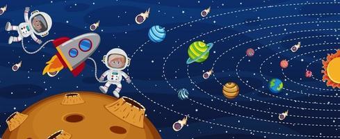 solsystem i galaxen med en astronaut och ett raketfartyg vektor