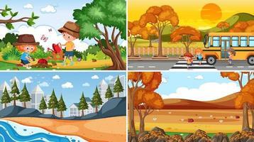 uppsättning av olika natur scener bakgrund med människor vektor
