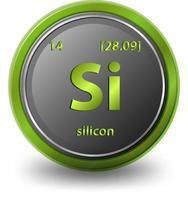 chemisches Element aus Silizium. chemisches Symbol mit Ordnungszahl und Atommasse. vektor
