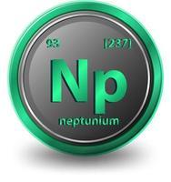 chemisches Element von Neptunium. chemisches Symbol mit Ordnungszahl und Atommasse. vektor