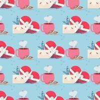 älskar post med valentin kort sömlösa mönster. älskar dig papperskort kuvert vektor