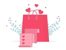 Alla hjärtans dag shopping väska med butikslista. älskar presentpåsar vektor