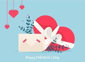kärlekspost med valentinkort. älskar dig papperskort kuvert vektor