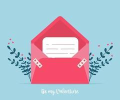 kärlekspost med valentinkort. älskar dig papperskort kuvert. vektor
