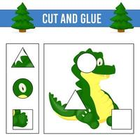 Arbeitsblatt schneiden und kleben. Spiel für Kinder. Arbeitsblatt zur Entwicklung von Bildung vektor