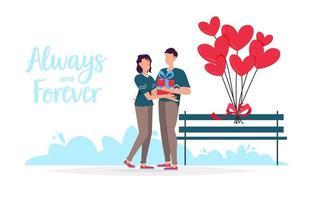 Alla hjärtans dag romantiska dejting presentkort. älskare förhållande två personer. älskande par hålla gåva. vektor