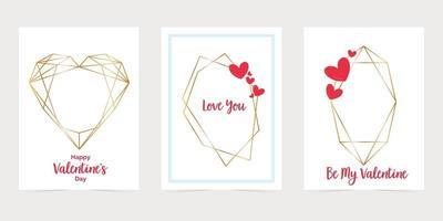Alla hjärtans dagskort med guld hexagon ramar. älskar dig papperskort kuvert. guld polygonala ramkort vektor