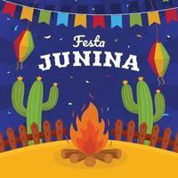 flaches festa junina Hintergrundkonzept vektor