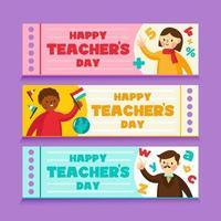 lärarens dag banners set vektor