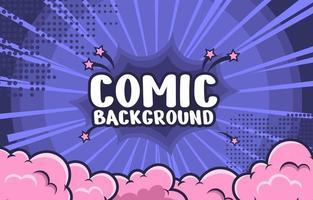 rosa Kaugummiwolke und blauer Explosions-Comic-Hintergrund vektor