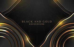 snygga moderna glödande guldstreck på svart bakgrund vektor