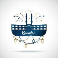 Grußbanner für islamischen Feiertag Ramadan Kareem. vektor