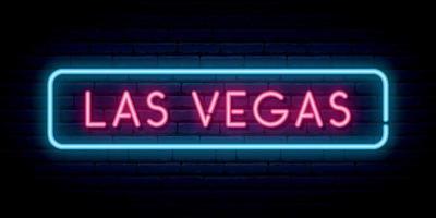 Las Vegas Leuchtreklame. helles Licht Schild. vektor