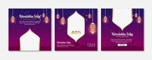 uppsättning ramadan försäljning banner. webb marknadsföring banner för gratulationskort, kupong, sociala medier post mall för islamisk händelse vektor