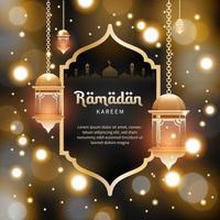 ramadan kareem bakgrundsmall i blured stil för gratulationskort, kupong, affisch, bannermall för islamisk händelse vektor
