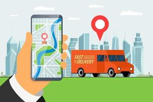 schnelle Lieferung LKW LKW Bestellservice App Konzept. Hand hält Smartphone mit Geotag GPS Standort Pin Ankunftsadresse auf der Stadtstraße und Express-Frachtversand. Online-Bewerbung flacher Vektor