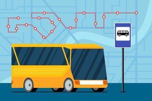 gelber futuristischer Stadttransportbus auf der Straße nahe Bushaltestelle Zeichen auf Karte mit Verkehrsnavigationsroute Standortmarkierungspositionsschema.