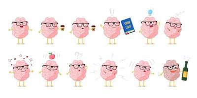 hjärnans känslor söt tecknad karaktär. utbildning och kunskapssymbol. mänskliga centrala nervsystemet friska och sjuka organ rolig samling. vektor illustration