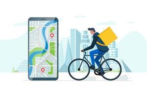 schnelles Fahrradlieferungs-Bestellservice-App-Konzept. Smartphone mit Geotag-GPS-Standort-Pin auf der Stadtstraße und ökologischem Express-Lebensmittelversandkurier mit Rucksack. Online-Bewerbungsvektor eps vektor