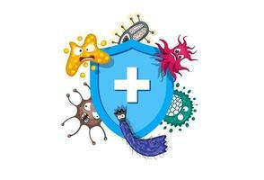 Konzept des Immunsystems. hygienisches medizinisches blaues Schild, das vor Viruskeimen und Bakterien schützt. vektor