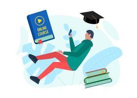 online utbildningskurs designkoncept. avlägsen e-lärande student tonåring man med smartphone och spela videotecken på omslagsbok. distansstudier och internetundervisning platt eps-mall vektor
