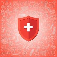 hygienisk medicinsk förebyggande röd sköld skyddar mot virus bakterier och bakterier. immunsystem koncept. mikrobiologi och medicin platt vektorillustration banner design vektor