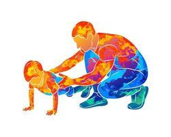 Der abstrakte Trainer hilft einem Jungen, Liegestütze vom Boden zu machen, wenn er Aquarelle spritzt. Vektorillustration von Farben. Sportunterricht. Kinder Fitness vektor