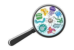 olika mikroorganismer, virusvektortecknad film, bakterier, groddar, uttryckssymbols teckenuppsättning genom förstoringsglas. vektor
