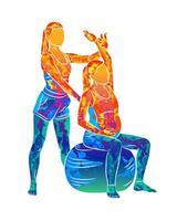 abstrakte junge schwangere Frau, die Fitnessball- und Pilatesübung mit Trainer vom Spritzen von Aquarellen tut. sitzen und entspannen. aktiver zukünftiger Mutter-Sport-Lebensstil. gesundes Schwangerschaftskonzept