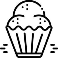linje ikon för cupcake vektor