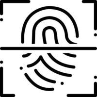 linje-ikon för fingeravtrycksläsare