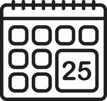 linje ikon för kalender vektor