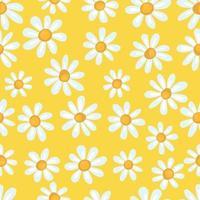 sömlös vårmönster med enkel kamomill på gul bakgrund. tryck för tyg och omslagspapper. vektor