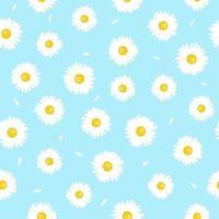 Kamillenblüte mit nahtlosem Muster der Blütenblätter. einfaches Sommermuster. vektor