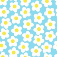 einfache Blumen nahtlos. Sommermuster auf blauem Hintergrund. vektor