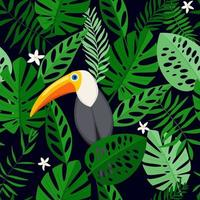 nahtloses Muster mit tropischen Blumen und Blättern mit Tukanvogel. Hand gezeichnet, Vektor, helle Farben. Hintergrund für Drucke, Stoff, Tapeten, Geschenkpapier.
