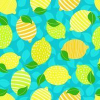 nahtloses Muster mit Zitronen und Blättern auf dem blauen Hintergrund.