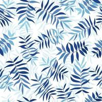 blaue tropische Blätter. nahtloses Muster für Stoff, Geschenkpapier und Web.