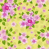 rosa blommor på gul bakgrund. sömlöst ljust tryck. vektor