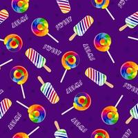 regnbågsgodis. ljusa sömlösa mönster med klubbor och glass.