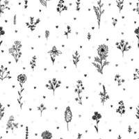 romantiskt sömlöst tryck med handritade blommor, kvistar, örter och hjärtan. svartvitt tryck.