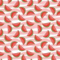 söt vattenmelon på ränder bakgrund. sommar sömlösa mönster.